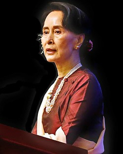 Aung Suu Kyi, foto: Hein Htet/EPA  (fra The Guardian, London).