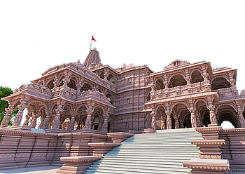 Ram Templet i Ayodhya; en model, august 2020.