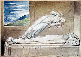 William Blake: Illustrations to Robert Blair's The Grave, the soul hovering over the body.